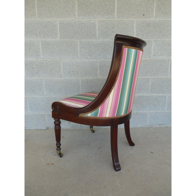 Fabric Hickory Chair Regency Style Mahogany Accent Chairs - A Pair For Sale - Image 7 of 11