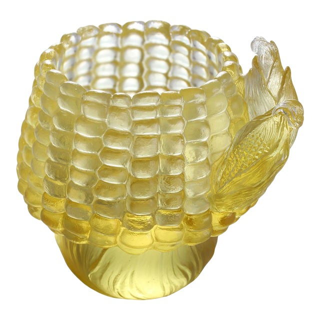 "Crystal ""Golden Abundance"" Limited Edition Corn Desk Decor in Clear Amber For Sale"
