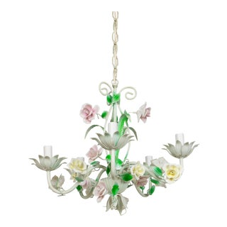 Mid 20th Century White Tole Flower Chandelier For Sale