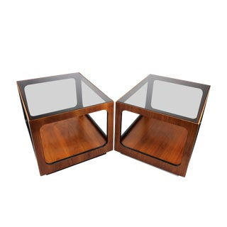 Lane Walnut and Smoked Glass Side Tables - a Pair For Sale