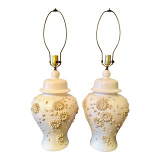 Late 20th Century Blanc De Chine Ginger Jar Table Lamps - a Pair For Sale
