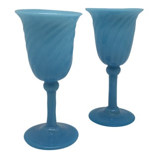 18th Century Blue French Opaline Cordial Glasses - a Pair For Sale