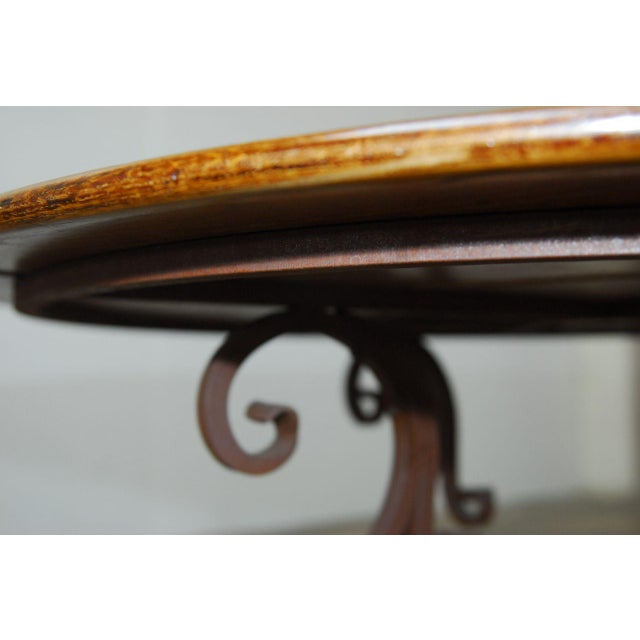 Italian Oak & Scrolled Iron Round Dining Table For Sale - Image 9 of 9