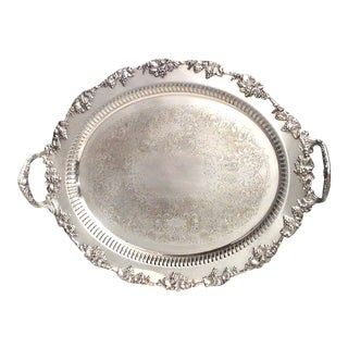 English Victorian Silver Plate Tray For Sale