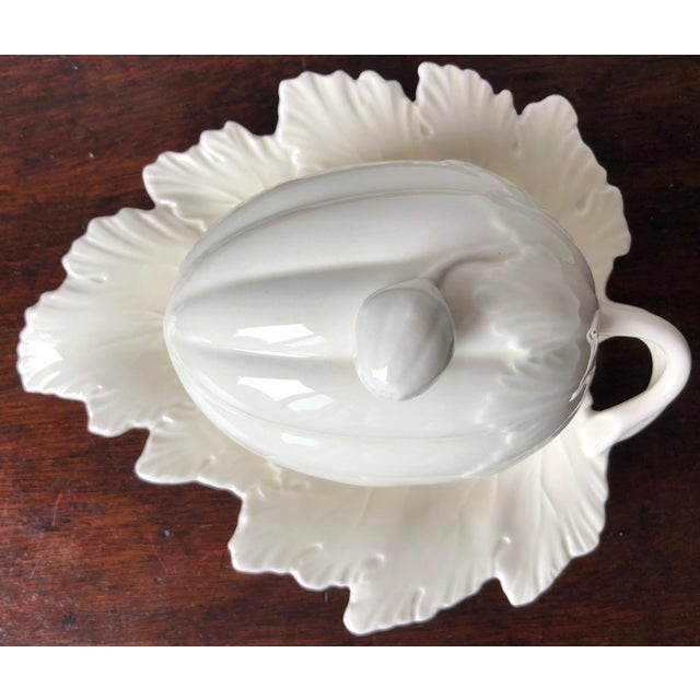 Antique White Vintage Wedgwood Creamware Melon Form Tureen-Leaf Underplate For Sale - Image 8 of 10