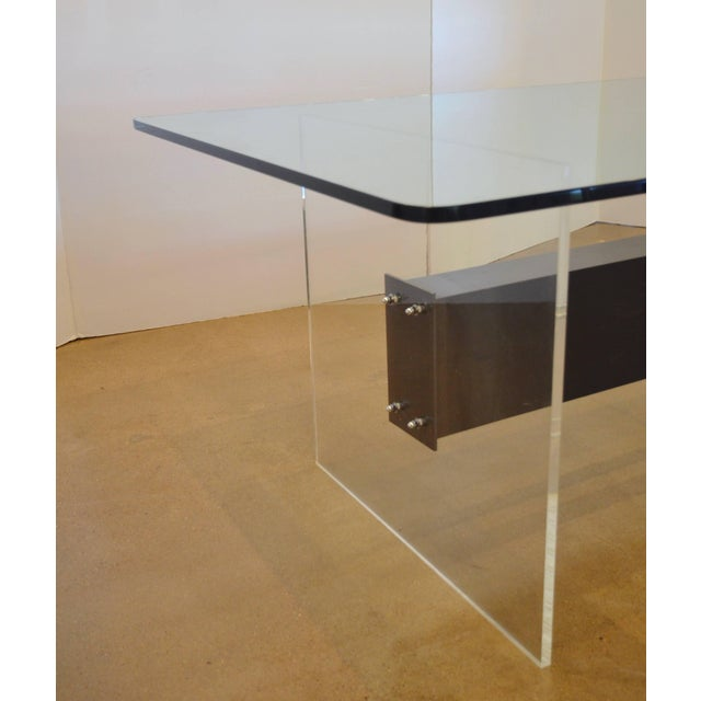 Gray Lucite, Glass and Steel Dining Table or Desk For Sale - Image 8 of 11