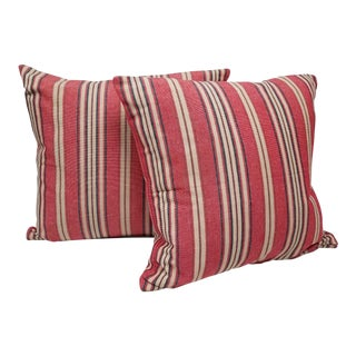 Red White and Blue Square Pillows - A Pair For Sale