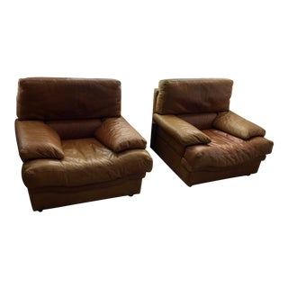 Post Modern Leather Club Chairs- A Pair For Sale