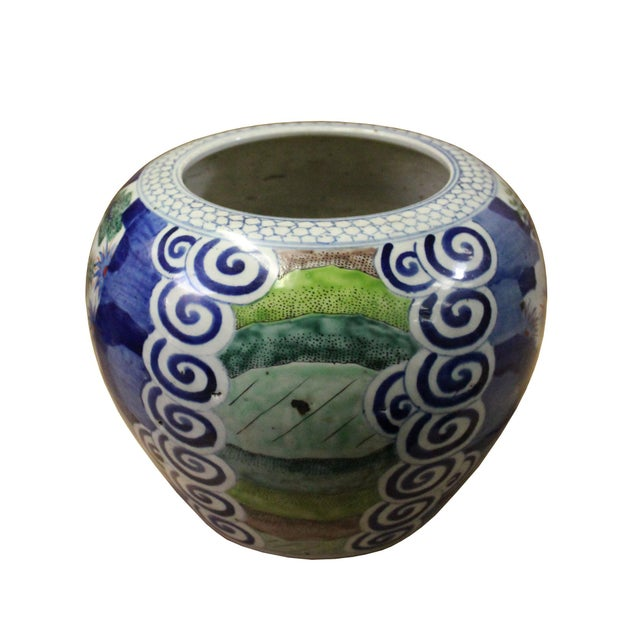 Asian Chinese Oriental People Scenery Graphic Ceramic Vase Jar Pot For Sale - Image 3 of 9
