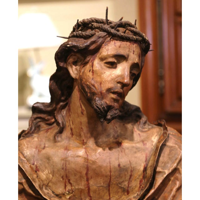 18th Century Italian Carved Paper Polychrome Mâché Christ Bust on Wooden Stand For Sale - Image 4 of 9