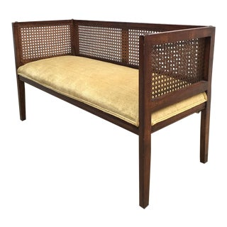 Mid-Century Cane Settee Bench For Sale