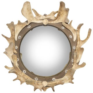 Antler and Wood Mounted Convex Mirror For Sale