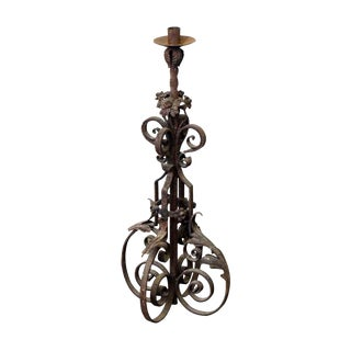 19th Century Wrought Iron Standing Lantern For Sale