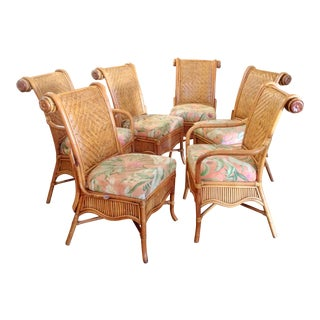 Set of 6 Colonial Style Rattan Dining Chairs For Sale