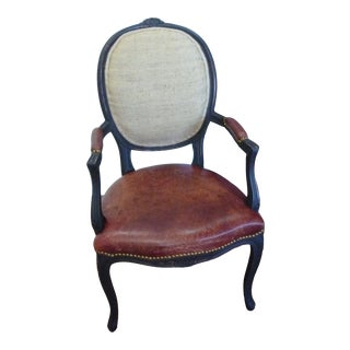 French Distressed Leather Coffee Chair For Sale