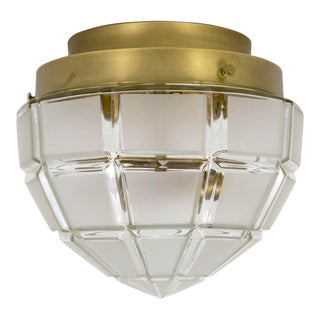 Torpedo Shaped Beveled Frosted Glass and Brass Flush Mount For Sale
