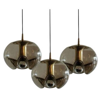 Smoked Glass Hanging Lights - Set of 3