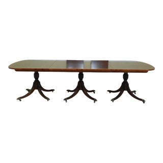 Walnut Yew Wood Banded Top Triple Pedestal Dining Room Table For Sale