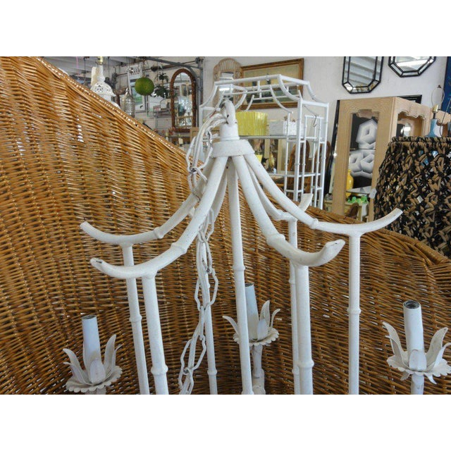 Faux Bamboo Vintage Pagoda Chandelier - Image 6 of 7