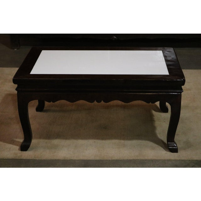 Walnut Wood Marble Top Low Table For Sale In Los Angeles - Image 6 of 6