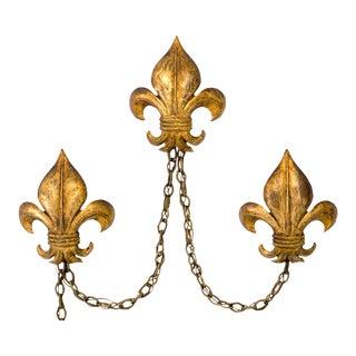 Italian Fleur de Lis Tole Wall Sconces, Set of 3