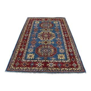Kazak Denim Blue Wool Hand-Knotted Rug- 4′10″ × 6′1″ For Sale