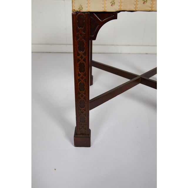Brown English Chinese Chippendale Style Mahogany Stool For Sale - Image 8 of 13