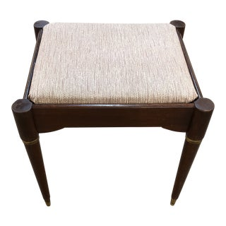 1950s Mid Century Modern Wood & Brass Bench For Sale