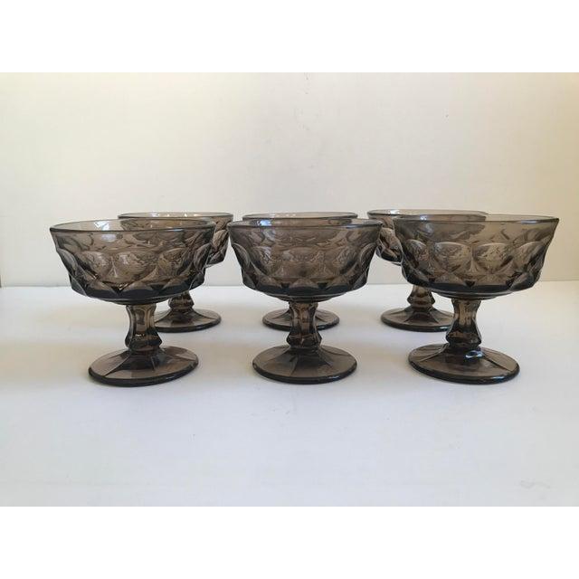 Vintage Smoked Thumbprint Glass Goblets - Set of 6 - Image 2 of 9