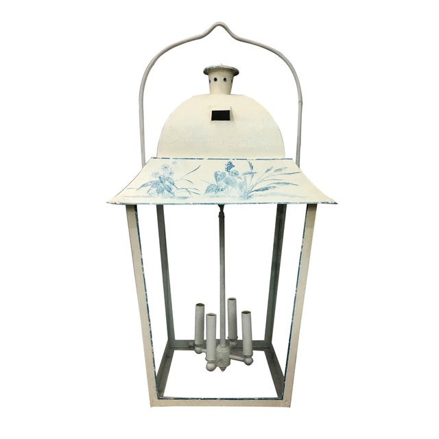 Blue Vintage French Style Hand-Painted Lantern For Sale - Image 8 of 8