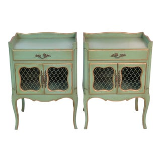 French Style Green Painted Nightstands- a Pair