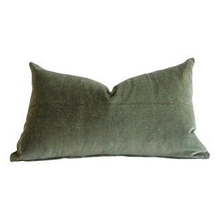 Custom Made Moss Green Cotton Velvet and Linen Decorative Pillows For Sale