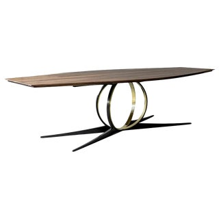 Omega Mahogany, Oak, Steel and Brass Table by ATRA For Sale