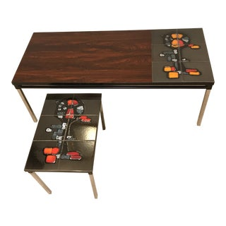 Mid Century Modern Tile and Rosewood Nesting Coffee Tables - 2 Pieces For Sale