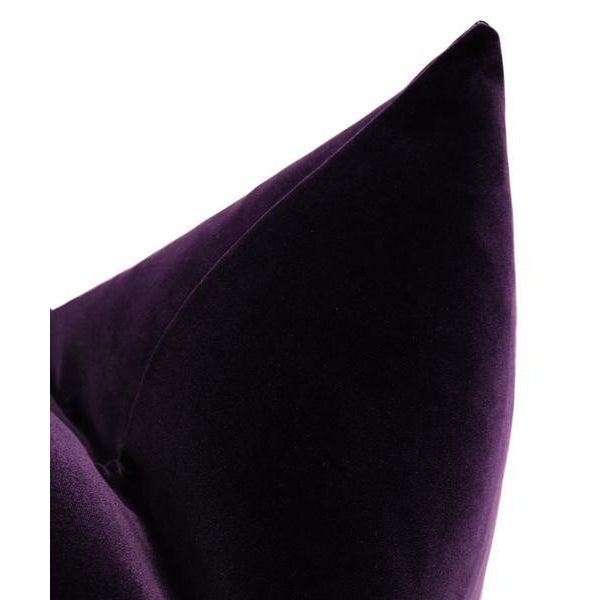 "22"" Aubergine Velvet Pillows - a Pair For Sale - Image 4 of 5"