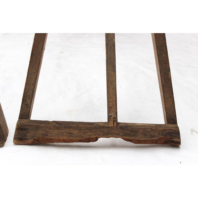 19th Century French Country Wood Saw Horse Table Bases - a Pair For Sale - Image 11 of 13