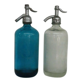 Vintage Blue and Clear Seltzer Bottles - a Pair For Sale