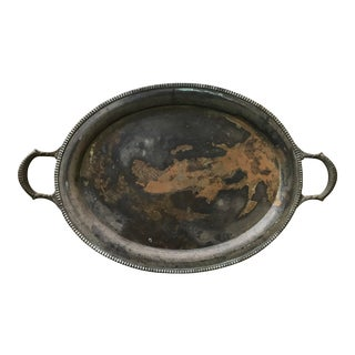 Vintage Silver Plated Patina Butler Serving Tray With Handles For Sale