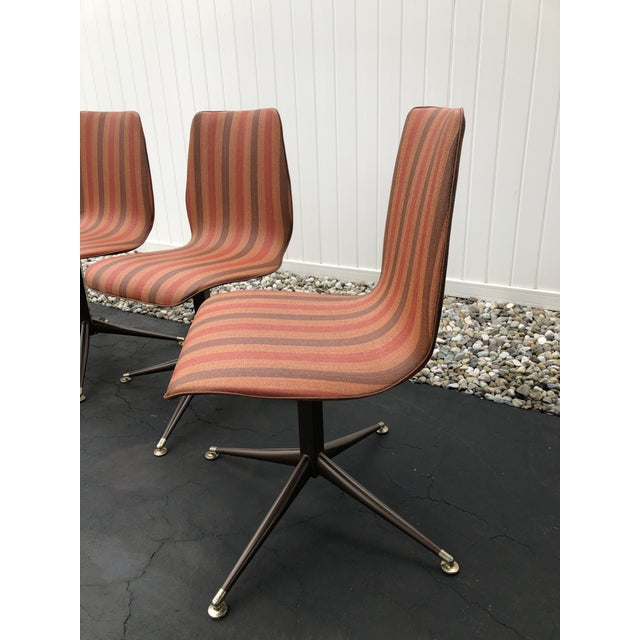 Orange Vintage Mid Century Howell Acme Striped Vinyl Chairs- Set of 4 For Sale - Image 8 of 13