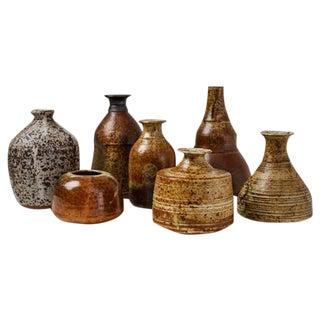 Franco Agnese Set of Seven Ceramic Earth Tone Vases, France, 1960s For Sale