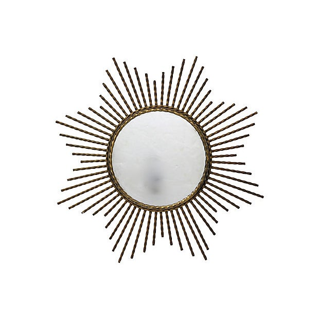 Art Deco 1960s French Gilded Iron Sunburst Mirror For Sale - Image 3 of 3