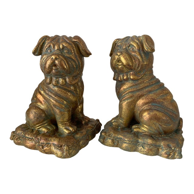 """""""Borghese"""" Gilt Pug Bookends - a Pair For Sale"""