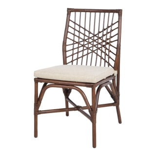 Harper Side Chair, Coffee, Rattan For Sale