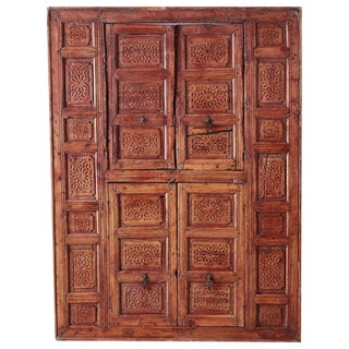 19th Century Indian Carved Panel With Shutter Windows For Sale