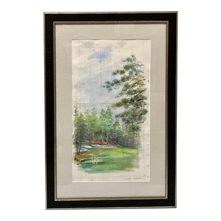 Augusta Golf Tournament Original Vintage Watercolor Painting by Richard Gabriel Chase For Sale