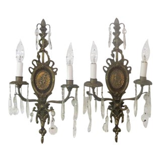 20th Century French Style Brass and Crystal Sconces - a Pair