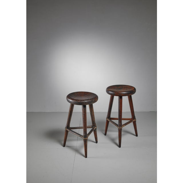 Pair of High Scandinavian Wooden Tripod Stools with Iron Connections, 1930s - Image 4 of 4