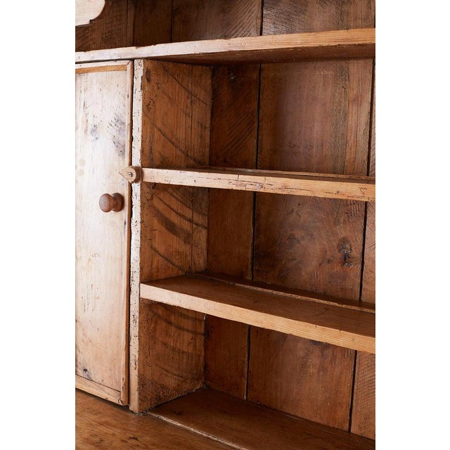 19th Century English Pine Cupboard Dresser With Rack For Sale - Image 10 of 13