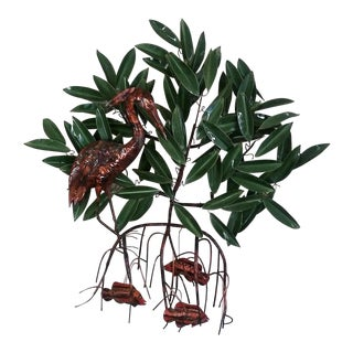 Mixed Metal Heron in Mangrove Wall Sculpture For Sale
