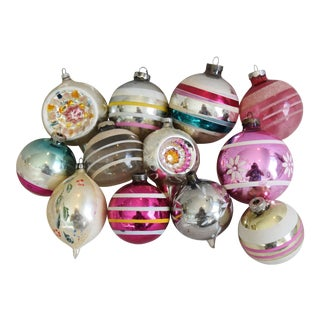 Vintage 1960s Assortment Christmas Tree Ornaments - Set of 12 For Sale